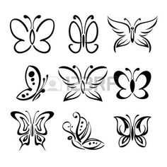 Set of butterfly silhouettes isolated on white background