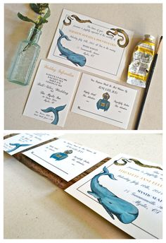 Hand Painted 20,000 leagues Under the Sea Wedding Invitation. $6.50, via Etsy.