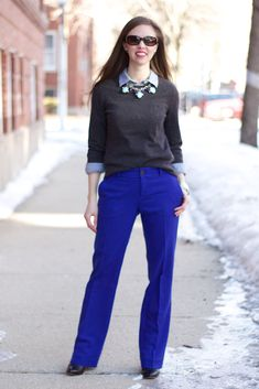 Blue Pants, Grey Sweater with Chambray