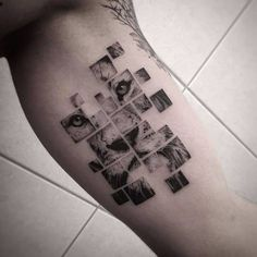 Puzzle lion tattoo