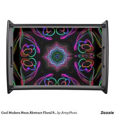 Cool Modern Neon Abstract Floral Pattern