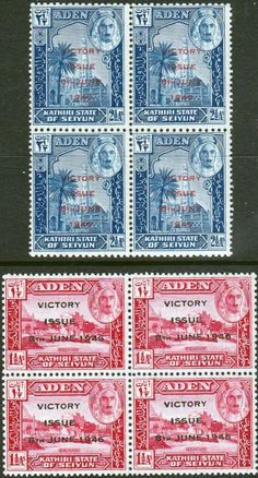 Aden Mnh 1946 Victory Set Of 2 Stamps In Blocks Of 4 Sg 28-29
