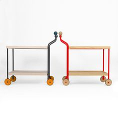 Darjeeling is a trolley with steel frame and wooden boards. Darjeeling, designed by Anna Kraitz, one of the Winners of the Wallpaper* Design Awards 2012. H 94/71 cm, L 98 cm, W 48 cm.