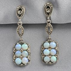 Art Deco Sterling Silver, Opal, and Marcasite Earpendants, Theodor Fahrner