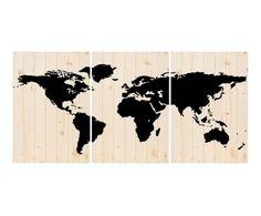 Tríptico artesanal de madera de pino Mapamundi - 60x149 cm