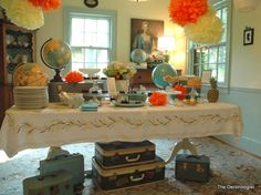 World traveler baby shower theme (the vintage luggage is very cute - though I don't have any)