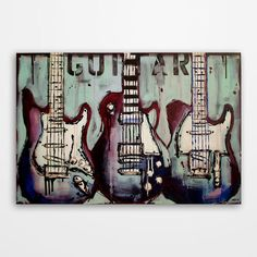 Guitar painting, Music art, Original electric guitar painting on canvas by Magda Magier
