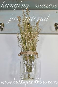 diy burlap hanging mason jar