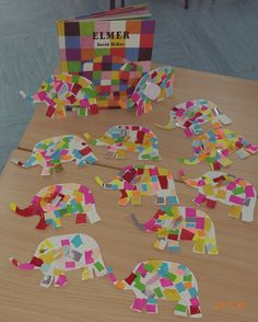 Actividad Plástica realizada  por alumnos de Infantil depués de escuchar el  cuento de Elmer. #Cursosdeverano