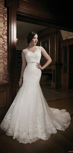 V-neck Natural Waist Trumpet Lace Cathedral Train Wedding Dress