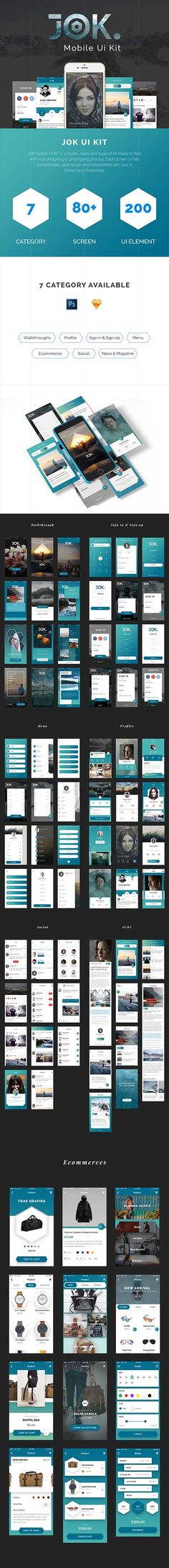 JOK Mobile UI Kit - Stylish & trendy iOS UI Kit for Sketch & Photoshop JOK mobile UI KIT is a stylish, clean and trendy UI Kit made to help with your designing or prototyping process. JOK i Sketch Photoshop, Ios Ui, Ui Elements, Ui Kit, Mobile Ui, In This Moment, Templates, Stylish, Easy