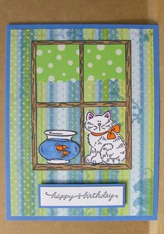 Stampin' Up cat in the window