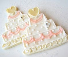 Wedding Cookie Favor Wedding Cake Sugar by SugarMeDesserterie. $24.95, via Etsy.
