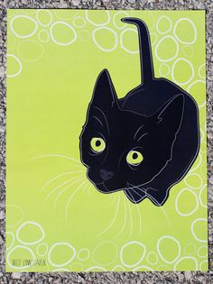 8.5 X 11 Black Cat Digital Illustration Print by BrettLynnCapen, $5.00