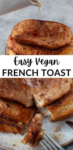 This easy vegan french toast calls for only 5 ingredients! And it's still crispy, sweet and golden-brown. Perfect for Sunday brunch, or my favorite - breakfast for dinner! #vegan #breakfast #frenchtoast Plant Based Breakfast, Breakfast For Dinner, Breakfast Bowls, Best Breakfast, Vegan Breakfast Recipes, Vegan Recipes, Dessert Recipes, Vegan French Toast, Vegan Casserole