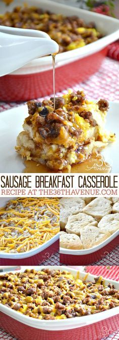 Casserole Recipe - This Sausage Breakfast Casserole is packed with all the comforting flavors you love to have in a breakfast recipe. Each bite has hash-browns, scrambled eggs, cheese, flaky layers of biscuits, and breakfast sausage. So good! PIN IT NOW and make it later!