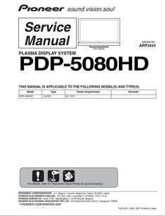 Pioneer pdp 435 pe kuro plasma tv service manual pinterest pioneer pdp 5080hd kuro tv original service manual arp 3443 100 fandeluxe Choice Image