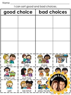 Good Choice/Bad Choice Pictures | teacher's helper ...