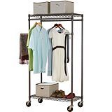 """For Living Heavy Duty Garment Rack w Arms; $109.99 (sale $54.99); #068-7534-8;  features two shelves, two hanging rods & two swing-out arms Each shelf can hold up to 250 lbs. Features epoxy coated metal tubes w castors for easy mobility; Easy assembly, no tools required; Dimensions: 17.75"""" x 34.75"""" x 66"""" 