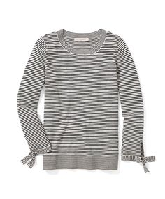 This striped sweater gets sweet with tie cuffs