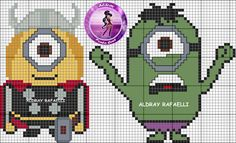 Cross-stitch Minions... no color chart available, just use pattern chart as your color guide.. or choose your own colors...  .. Drayzinha
