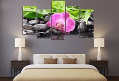 Style Your Home Today With This Amazing 5 Pieces Multi Panel Modern Home Decor Framed Pink Orchid Zen Spa Wall Canvas Art For $99.98  Discover more canvas selection here http://www.octotreasures.com  If you want to create a customized canvas by printing your own pictures or photos, please contact us.
