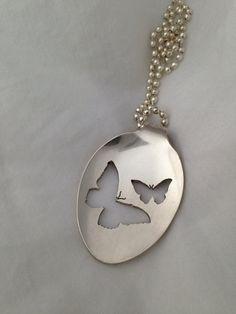 Spoon Jewelry Butterflies Handcut Vintage Spoon by krizsilver, $25.00