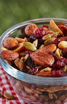On long road trips, everyone can run a little low on fuel.  Don't forget to pack some satisfying snacks to enjoy along the way, like this energizing Sweet & Salty Trail Mix from Kitchen Expert Anna Olson.