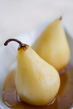 Marsala Poached Pears ~ Bosc pears poached in Marsala wine with star anise, cinnamon, and cloves. ~ SimplyRecipes.com