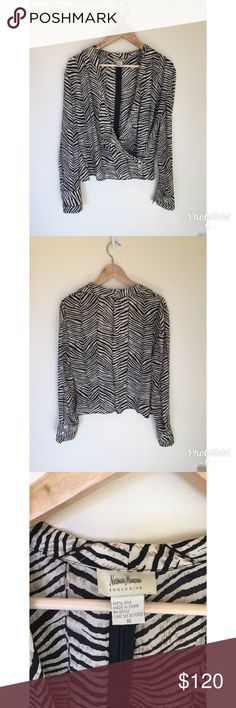 NEIMAN MARCUS EXCLUSIVE  SILK WRAP SHIRT NEIMAN Marcus exclusive  beautiful blouse with pattern . 100% silk missing left button on the Sleeve th Neiman Marcus Tops Blouses
