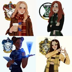 Avengers as Hogwarts houses, Carol Danvers as Gryffindor, Natasha Romanoff Slytherin, Shuri as Ravenclaw and Mantis as Hufflepuff (art by Harry Potter Tumblr, Harry Potter Anime, Magia Harry Potter, Estilo Harry Potter, Cute Harry Potter, Mundo Harry Potter, Harry Potter Artwork, Harry Potter Drawings, Harry Potter Outfits