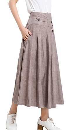 Olrain Women's Elastic Waist Cotton Linen Solid A-Line Casual Skirt *** This is an Amazon Affiliate link. Click on the image for additional details. Fashion Outfits, Womens Fashion, Cotton Linen, Fashion Brands, Elastic Waist, Midi Skirt, Topshop, Women's Skirts, Clothes For Women