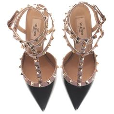 VALENTINO Rockstud Slingback Kitten Nero Leather pumps with studs ($750) ❤ liked on Polyvore featuring shoes, pumps, heels, valentino, studded pumps, black leather pumps, leather pumps, black shoes and black heel pumps