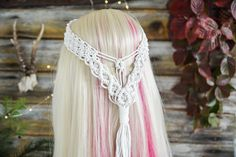 Your place to buy and sell all things handmade Macrame Headband, Macrame Dress, Bohemian Headband, Boho, Macrame Art, Headpiece Wedding, Wedding Veils, Bridal Headpieces, Best Tattoos For Women