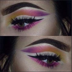 This is a festival makeup look I created used the NYX Ultimate Palette Brights 💄🎨 Eye Makeup Art, Love Makeup, Beauty Makeup, Makeup Looks, Nyx Brights Palette, Eyeshadow Palette, Eyeshadow Ideas, Pink Yellow, Purple