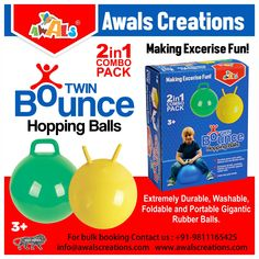 #Hopping #Balls are the best way for children to put down their Phones and #exercise while having fun.  Develops gross motor & #coordination #skills and #balance  Extremely #durable #washable #inflatable gigantic rubber balls.  Perfect for #indoor #outdoor  #gym #fitness #energy #healthyliving #healthy #wellness #fit #wellbeing #health #bulkorders #AwalsCreations