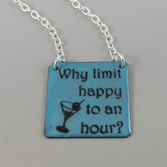Teal Blue Enameled Copper Necklace Why Limit by HCJewelrybyRose
