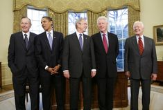 Here Are All 5 Living Presidents Together at the George W. Bush Library : Presidents together. The gathering of Presidents Bush, Bush, Clinton, Carter, and Obama appears to tie for the largest such convention of commanders in chief ever. George W Bush, George Hw, George Walker, Jimmy Carter, American Presidents, American History, American Soldiers, British History, American Girl