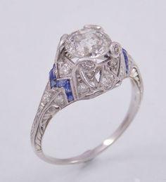 Antique Platinum 1.48ct Mine Cut Diamond & Sapphire Engagement Ring Sz 8.5 Deco #SolitairewithDiamonds