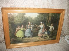 Vintage print children playing wood frame by FabulousFinds1 on Etsy