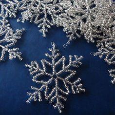 Sněhová vločka malá stříbrná - 3 ks