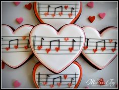 You make my heart sing!-Valentine Music Cookies by Melissa Joy : You make my heart sing!-Valentine Music Cookies by Melissa Joy Valentine's Day Sugar Cookies, Fancy Cookies, Heart Cookies, Iced Cookies, Cute Cookies, Cupcake Cookies, Cookie Favors, Flower Cookies, Easter Cookies