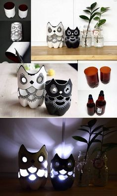 DIY Plastic Bottle Owl Lamp very stunning and affordable.