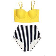 Yellow Midkini Top and Stripe High Waisted Waist Cut Rise Bottom... (67 BAM) ❤ liked on Polyvore featuring swimwear, bikinis, bikini, bathing suit, swimsuit, yellow bathing suit, swimsuits two piece, high waisted bikini swimwear, stripe bikini and bikini swimsuit
