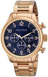 Nautica Men's N20118G BFD 101 CHRONO Analog Display Quartz Rose Gold Watch