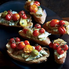 Stilton and Burst Cherry Tomato Crostini Roasting cherry tomatoes until they burst makes them super-juicy and sweet; combining them with salty Stilton cheese on toast makes a quick and tasty starter.
