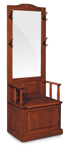 Antique Oak Entry Hall Tree With Storage Bench Amp Beveled Mirror Amp Butterfly Hook Coat Rack Chair Design Pinterest Antique Hall Tree Hall