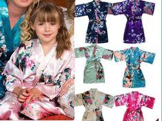 HOT!Wedding Flower Girls children Kimono robe nightwear dress satin gown Peacock #Unbranded #DressyEverydayHolidayPageantWedding