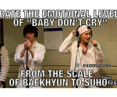 "From the mellow,""I refuse to cry"" Baekhyun. to the broken dam Suho"