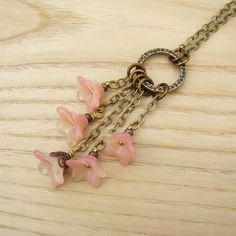 Flower cluster necklace with two tone pink by laurelmoonjewelry, $24.00
